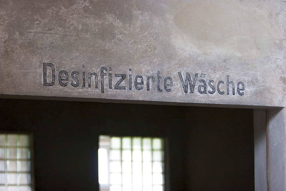 German sign 'Desinfizierte Wäsche' (Disinfected clothes) inside the Sauna, Auschwitz-Birkenau Concentration Camp, Oswiecim, Malopolska, Poland