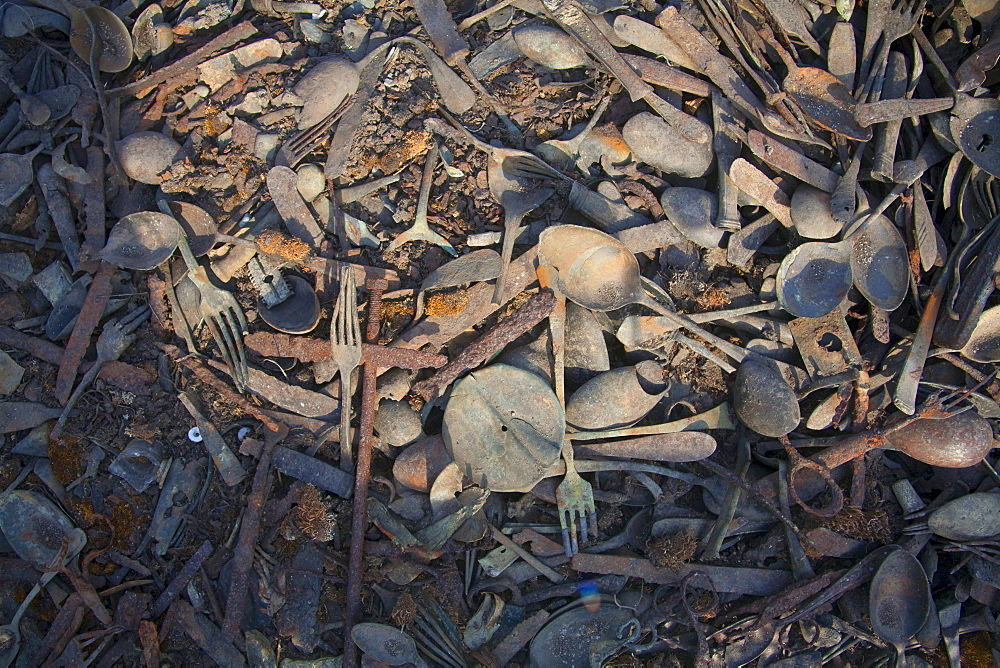 Remains of the goods stolen by the Nazis from the murdered people at Camp Kanada, Auschwitz-Birkenau Concentration Camp, Oswiecim, Malopolska, Poland