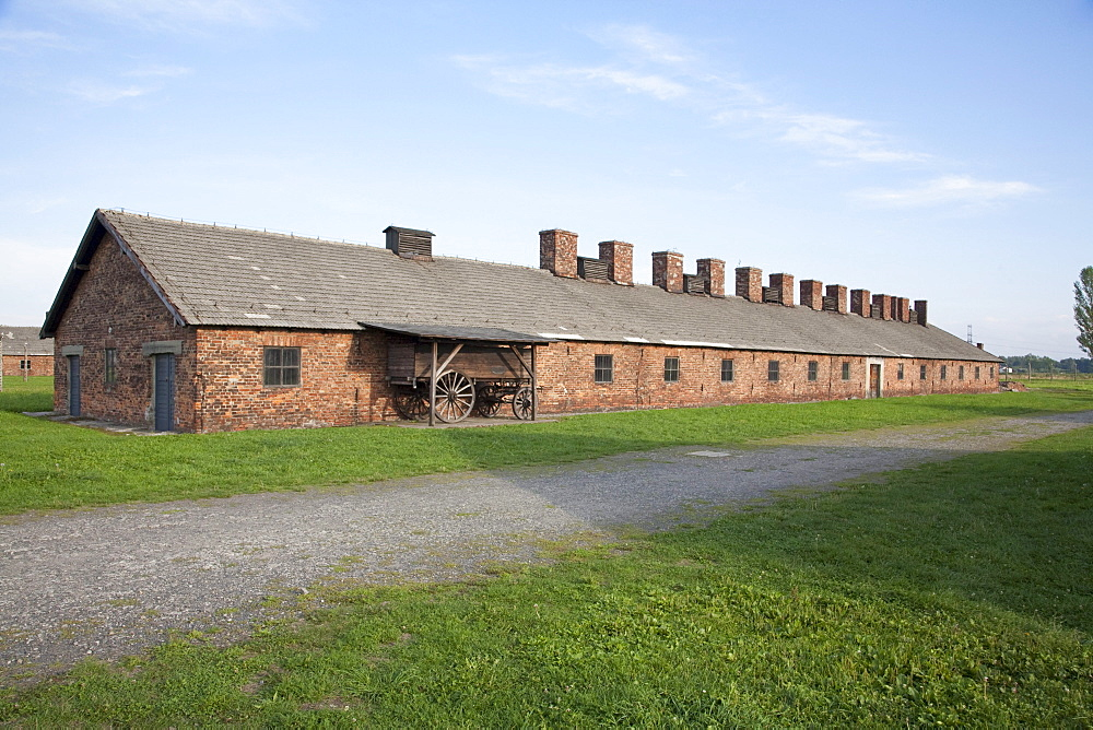 Barracks of the Men's Camp, Auschwitz-Birkenau Concentration Camp, Oswiecim, Malopolska, Poland