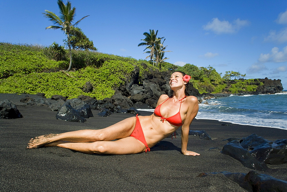 Hawaii, Maui, Waianapanapa State Park, Black Sand Beach.