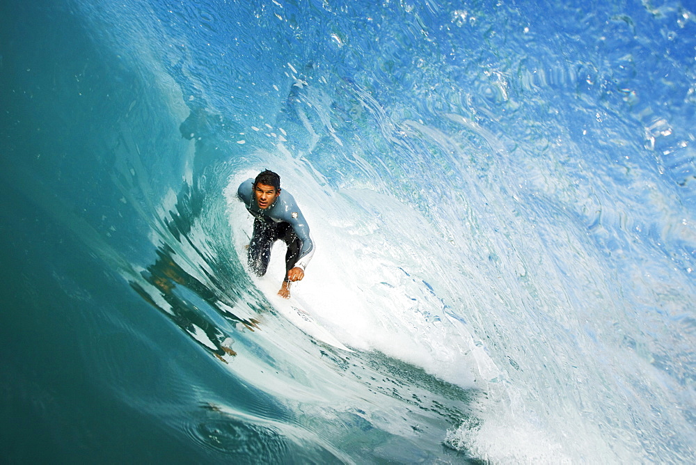 California, Redondo, Surfer on  large wave, view from inside