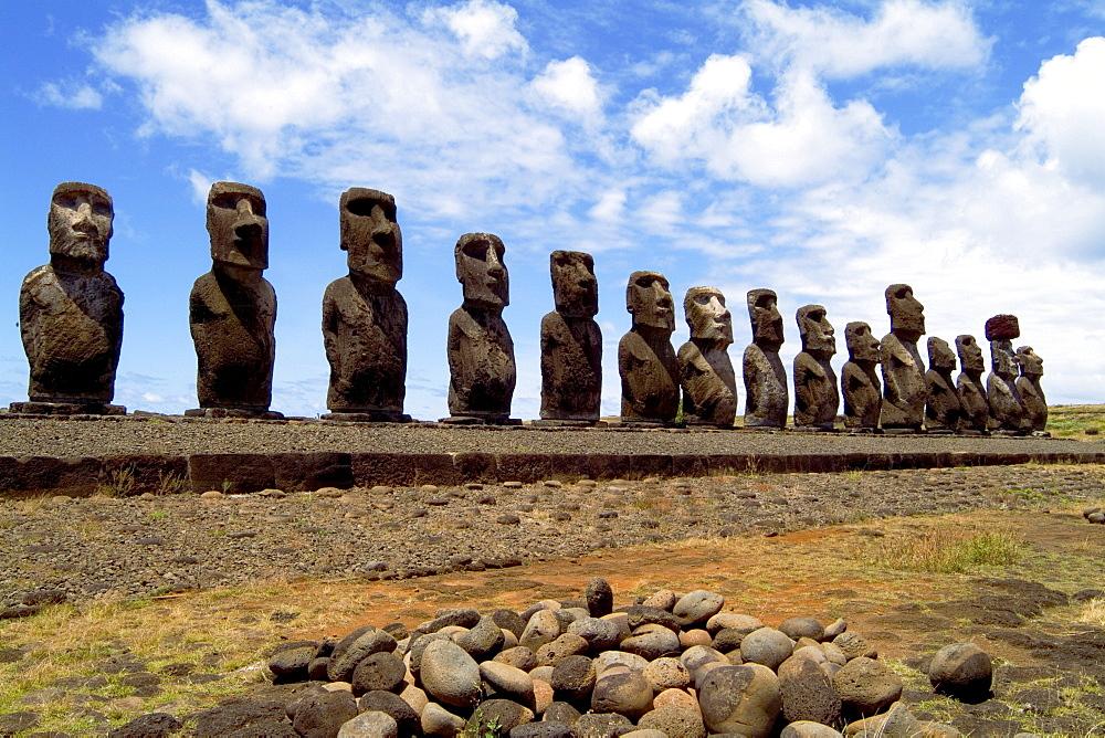 Easter Island, Ahu Tongariki Platform with line of Moai Statues, wide angle.