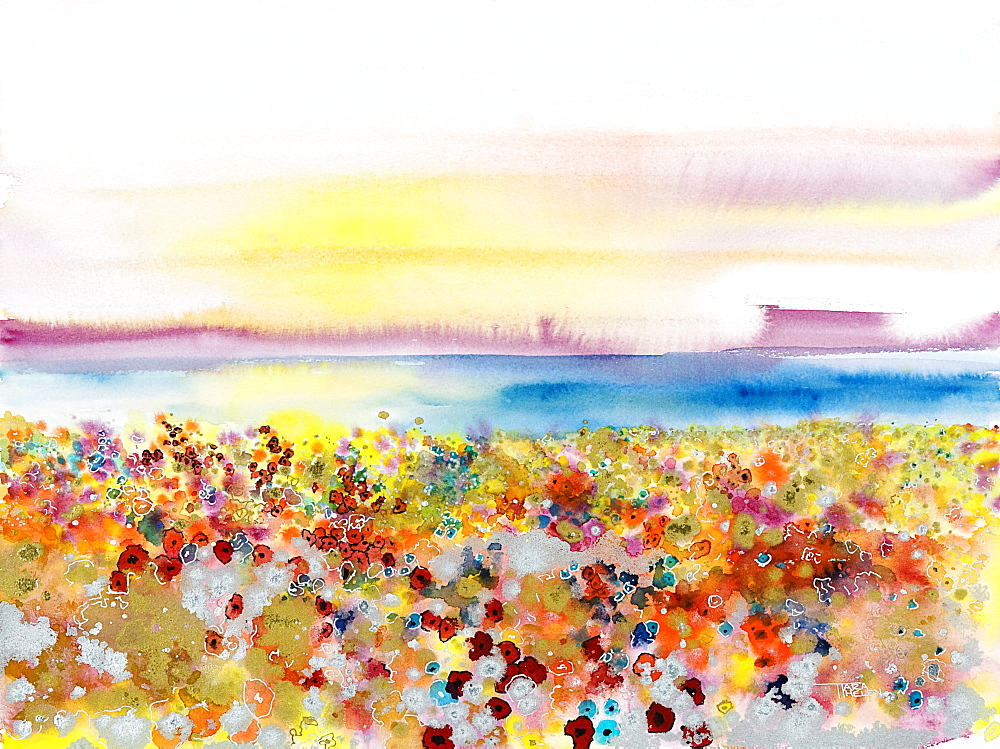 Field of Joy, Abstract landscape of bejeweled field of flowers (Watercolor painting).