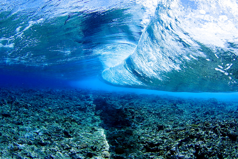 Micronesia, Yap, Underwater view of wave.