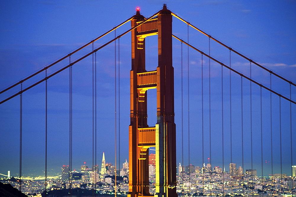 California, San Francisco, Golden Gate Bridge from Marin County hillside.