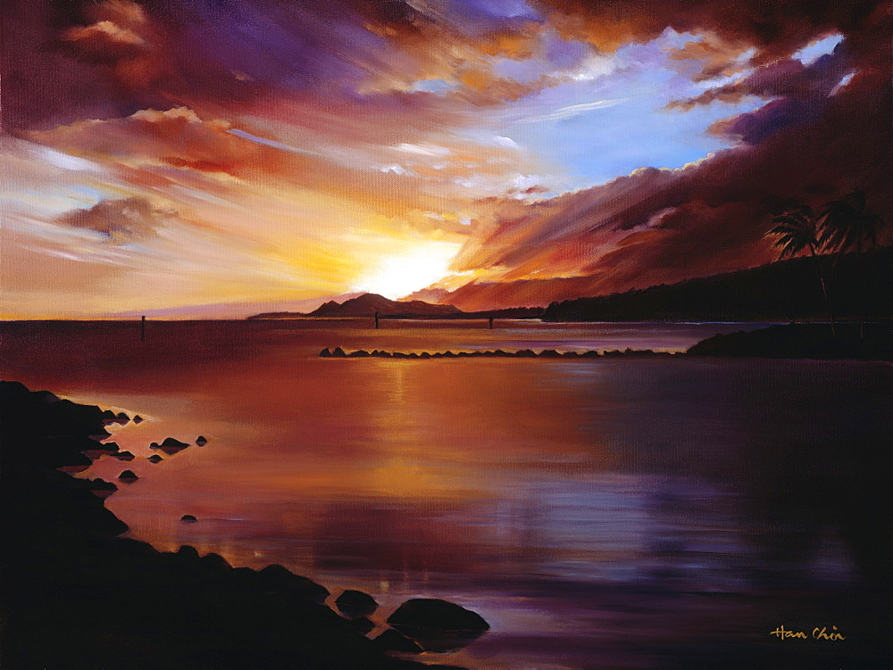 Sunset of Hawaii Kai, Hawaii, Oahu, Hawaii Kai, Landscape of sunset over ocean (Oil Painting).