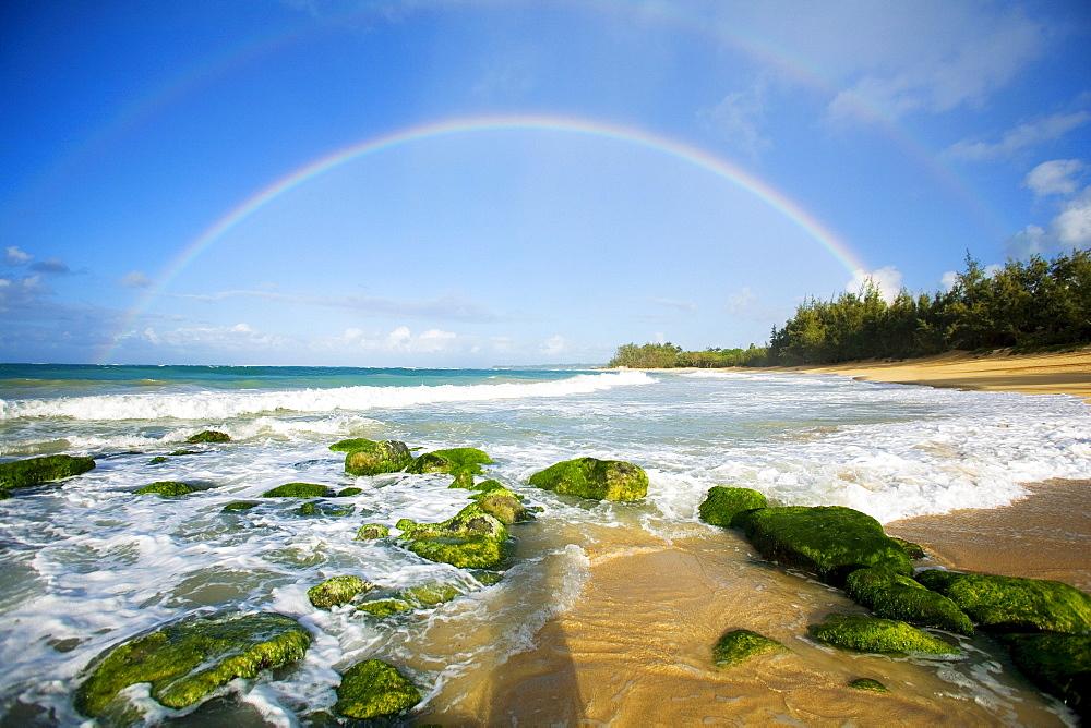 Hawaii, Maui, Double Rainbows over Baldwin Beach.