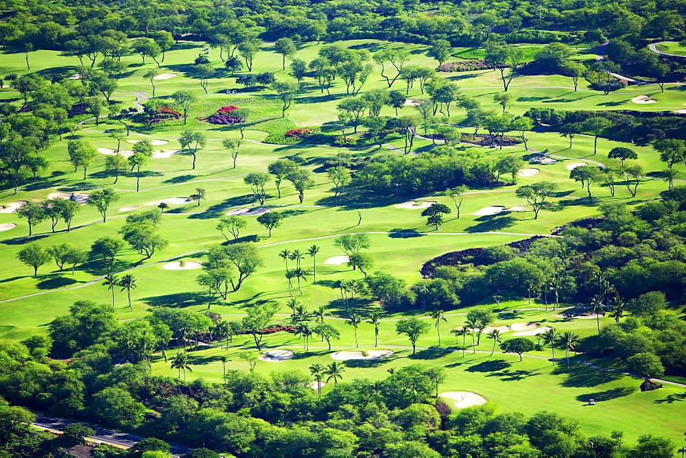 Hawaii, Maui, Wailea, Aerial of Wailea Gold and Emerald golf courses.