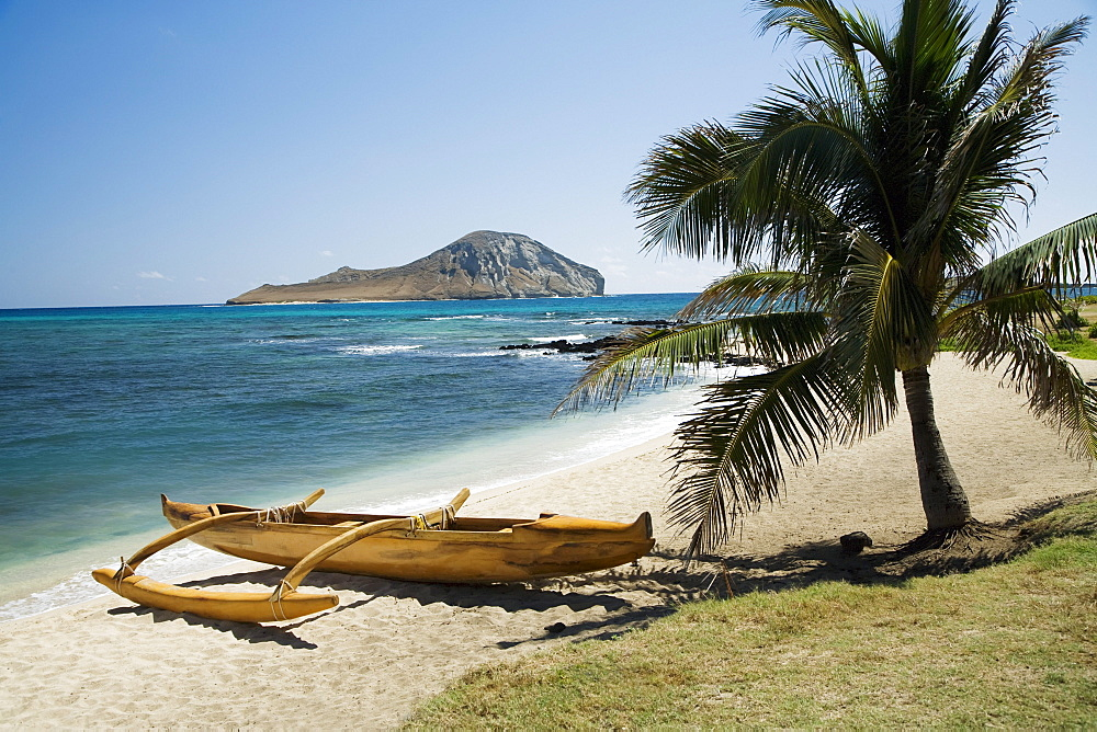 Hawaii, Oahu, East Shore Rabbit Island & Koa Canoe.