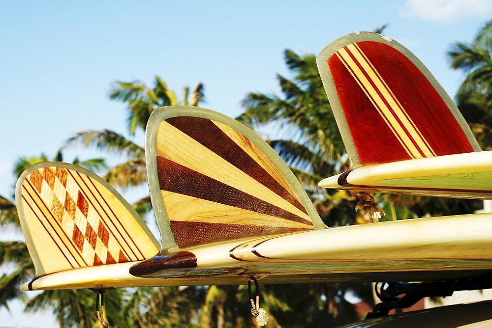 Hawaii, Oahu, Colorful Hawaiian design surfboards fins.