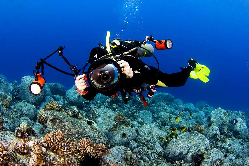 Hawaii, Big Island, Kona Coast, Photographer diver swims along ocean floor.