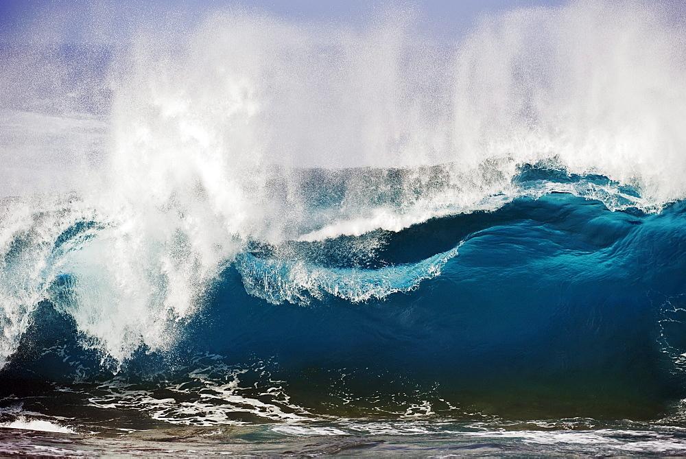 Hawaii, Big Island, South Point, Wind blown surf.