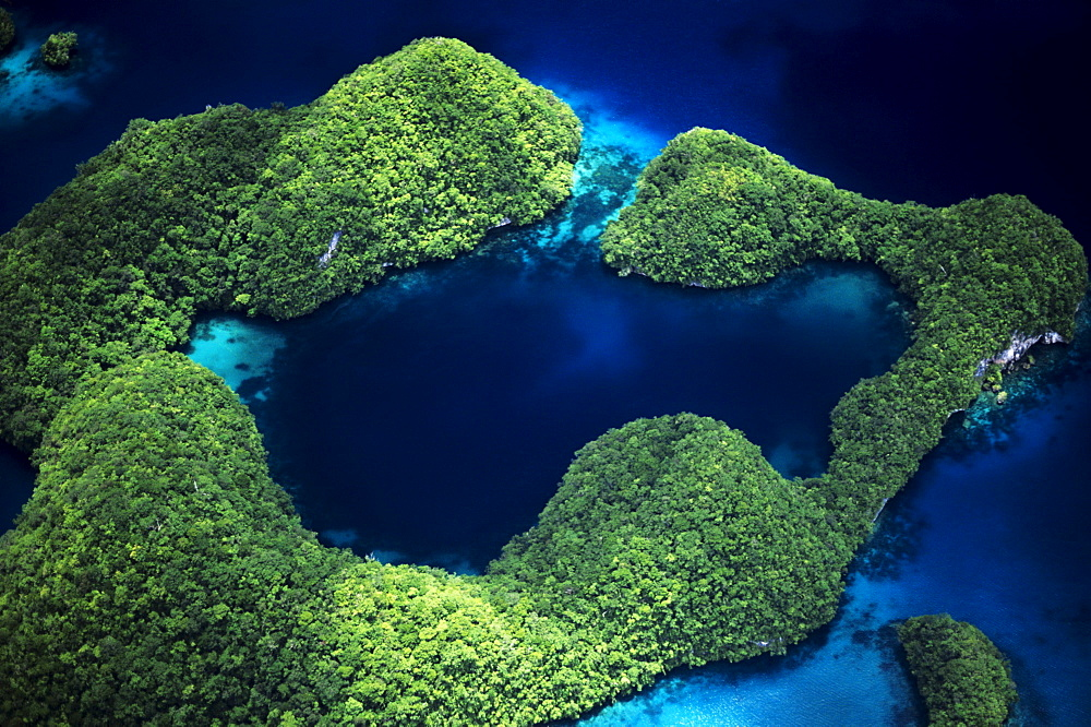 Micronesia, Palau, Rock Islands, Aerial of Rock Islands and lagoon. - 1116-30812