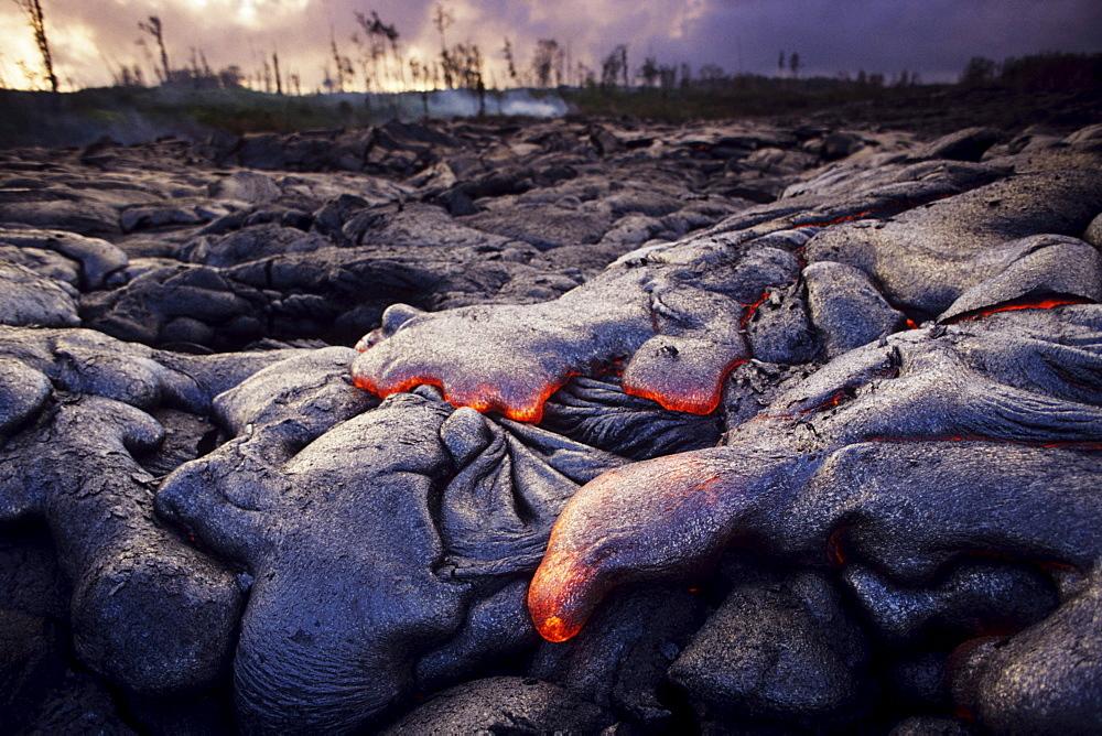 Hawaii, Big Island, Hawaii Volcanoes National Park, Kilauea area, Expanse of pahoehoe lava.