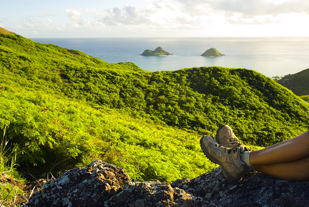 Hawaii, Lanikai, view of Hicking boots and mountains with view of Mokulua Islands.