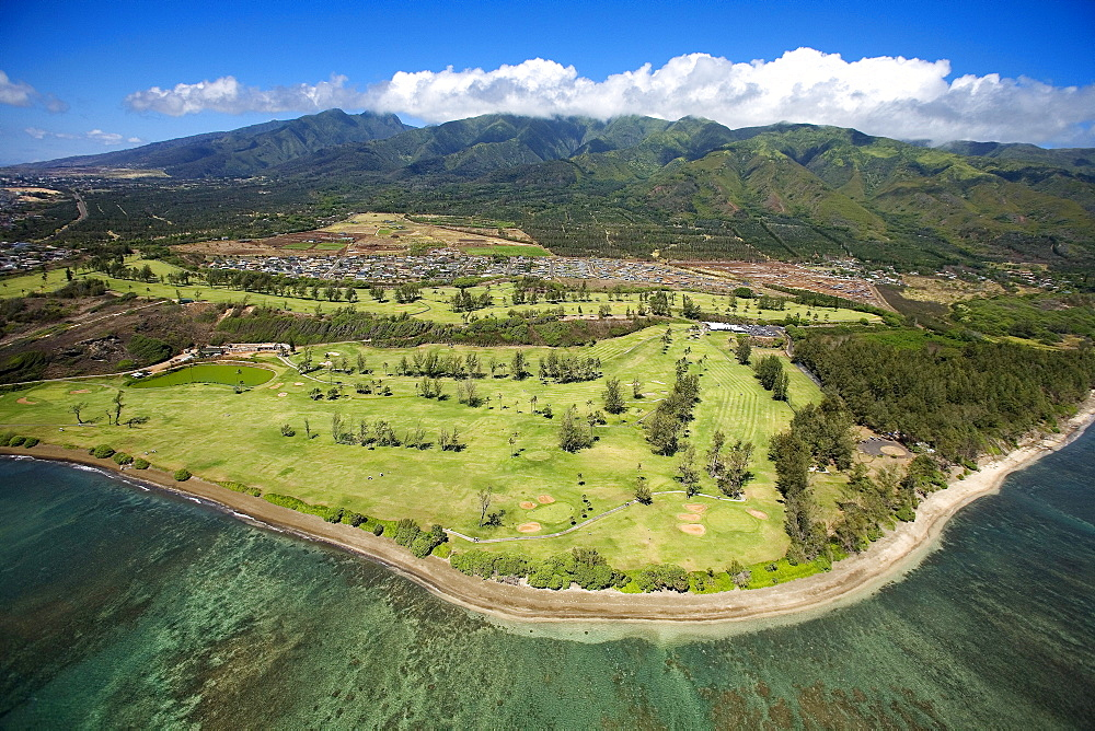 Hawaii, Waiehu, aerial of Golf Course and coastline.