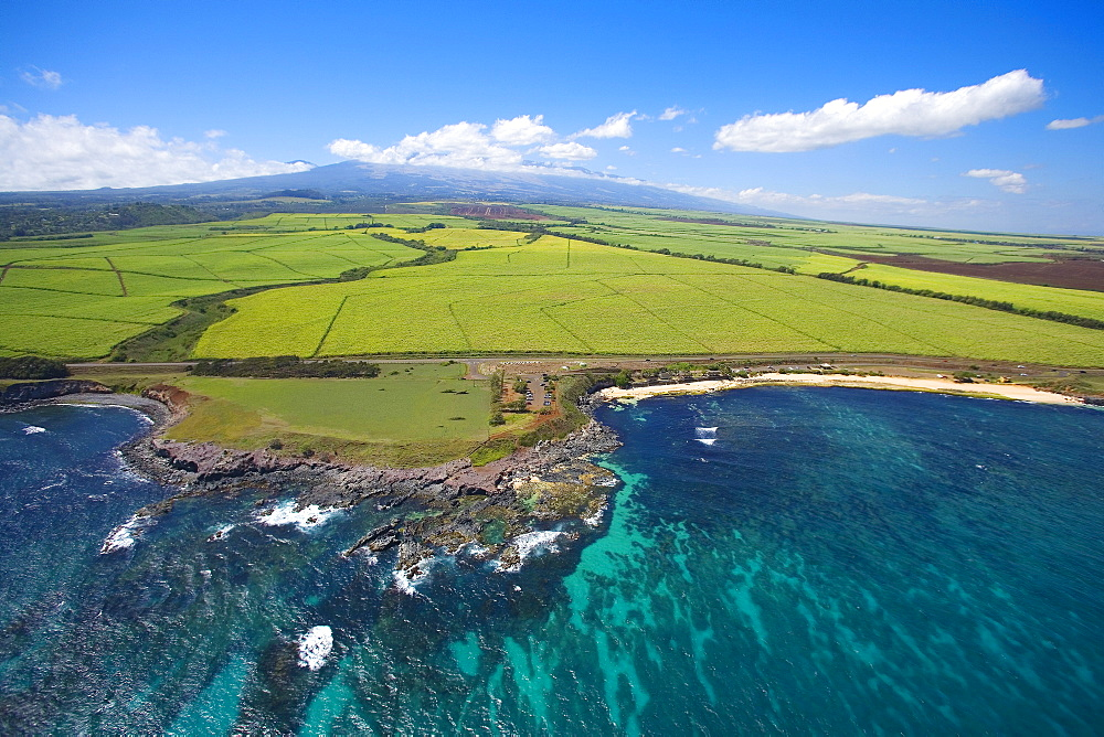 Hawaii, Maui, Hookipa Beach Park, Haleakala in the distance.