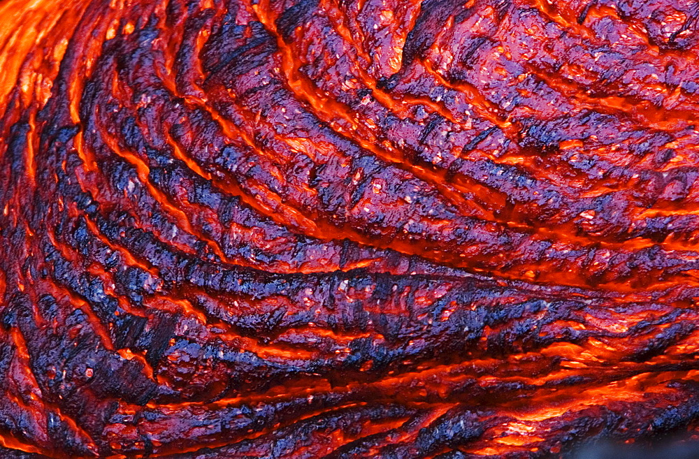 Hawaii, Big Island, Hawaii Volcanoes National Park, Kilauea Volcano, Detail of molten lava.