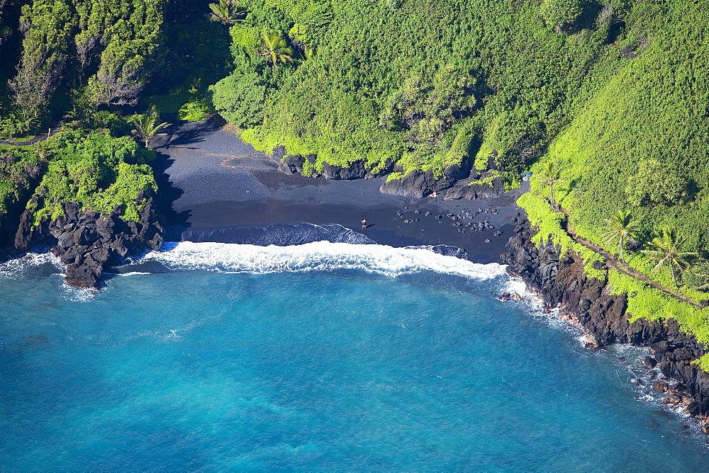 Hawaii, Maui, aerial of Waianapanapa State Park.