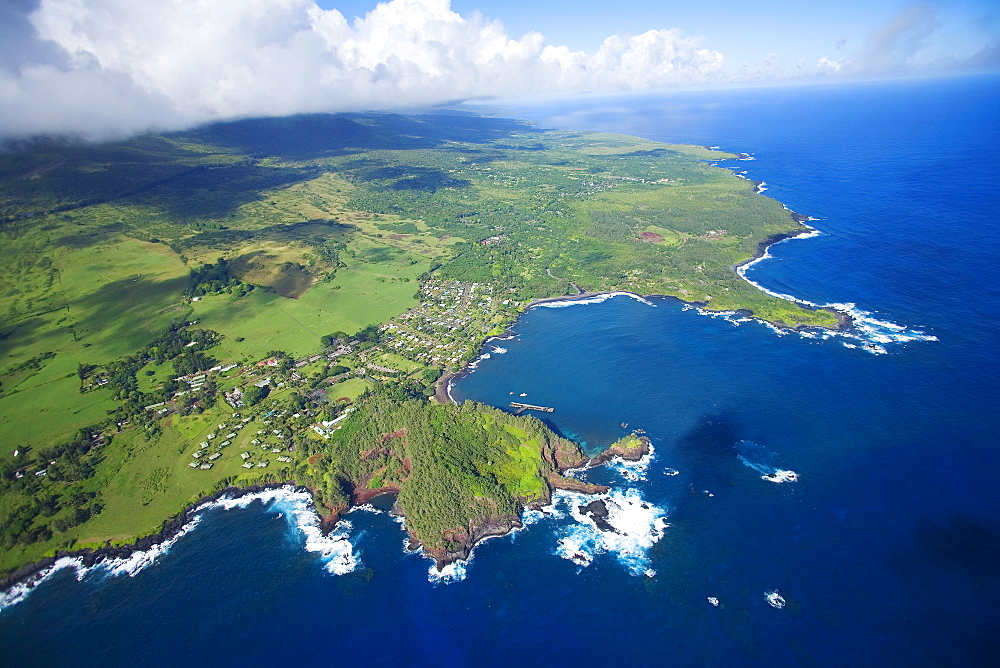 Hawaii, Maui, aerial of Hana town.