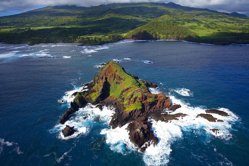 Hawaii, Maui, Hana, aerial of Alau Islet near Koki Beach.