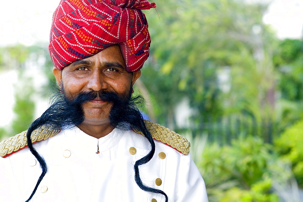 India, Rajasthan, Jaipur, Park Plaza Hotel, Doorman with great moustache.