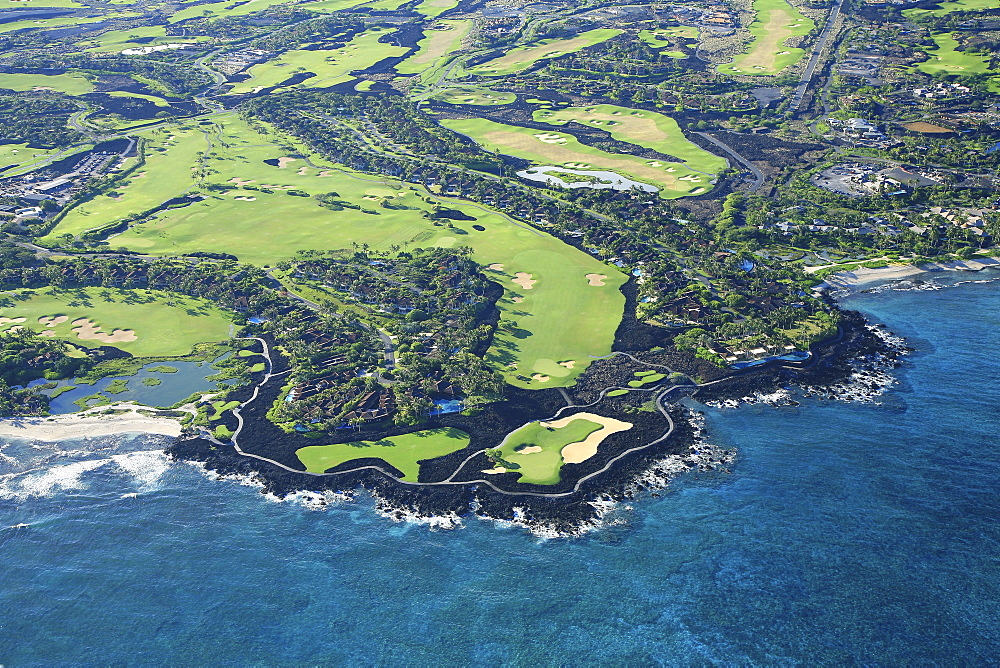 Hawaii, Big Island, Kona, Four Seasons Resort Hualalai Golf Course, Aerial View.