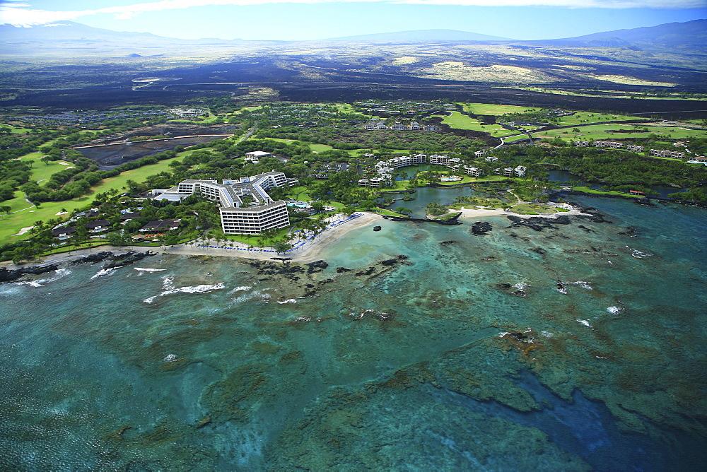 Hawaii, Big Island, Kohala Coast, Aerial of Mauna Lani Resort.