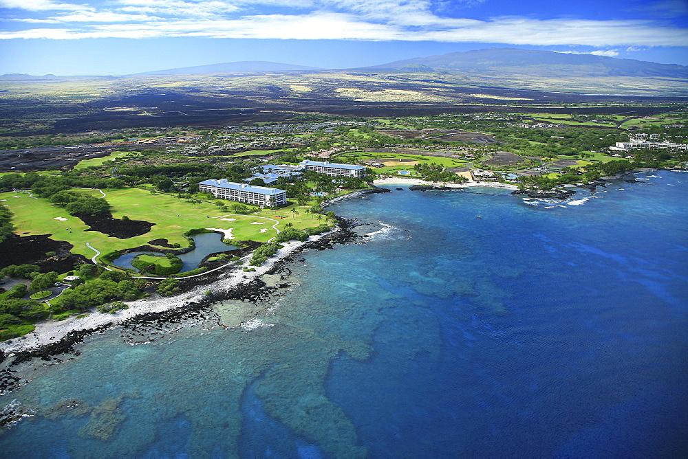 Hawaii, Big Island, Kohala Coast, Mauna Lani, Aerial of the Fairmont Orchid.