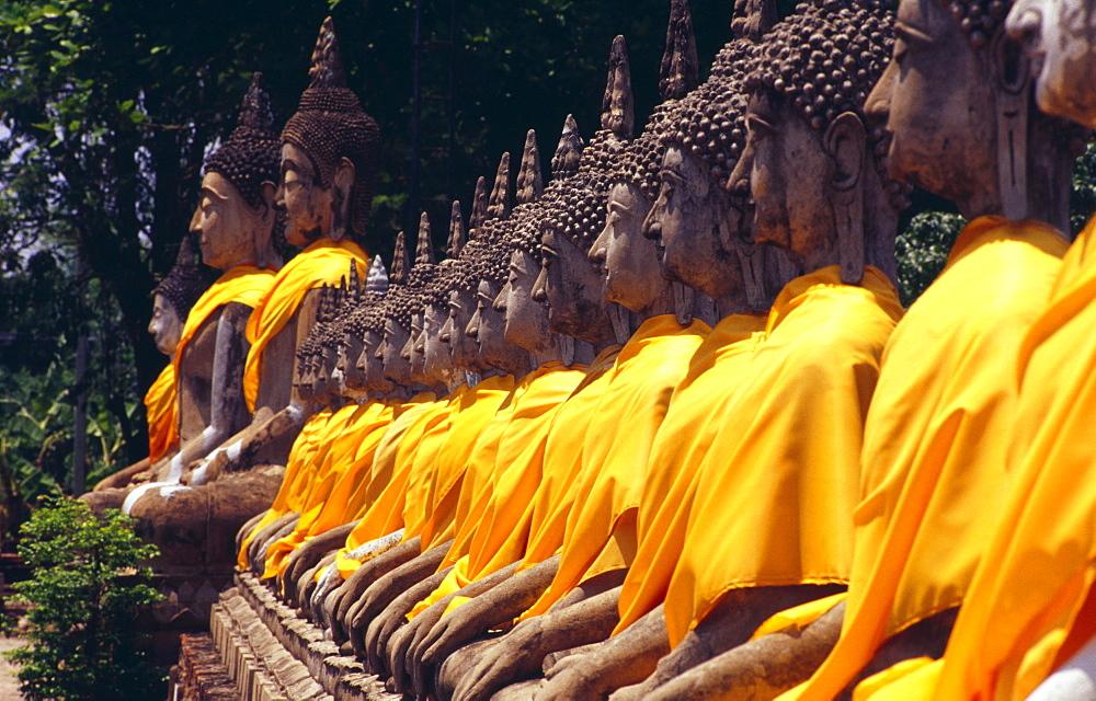 Thailand, Ayuthaya, Wat Yai Chai Monghon bodhisattva statues