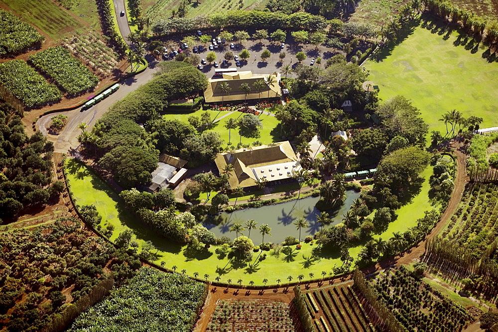 Hawaii, Maui, Waikapu, aerial of Maui Tropical Plantation.
