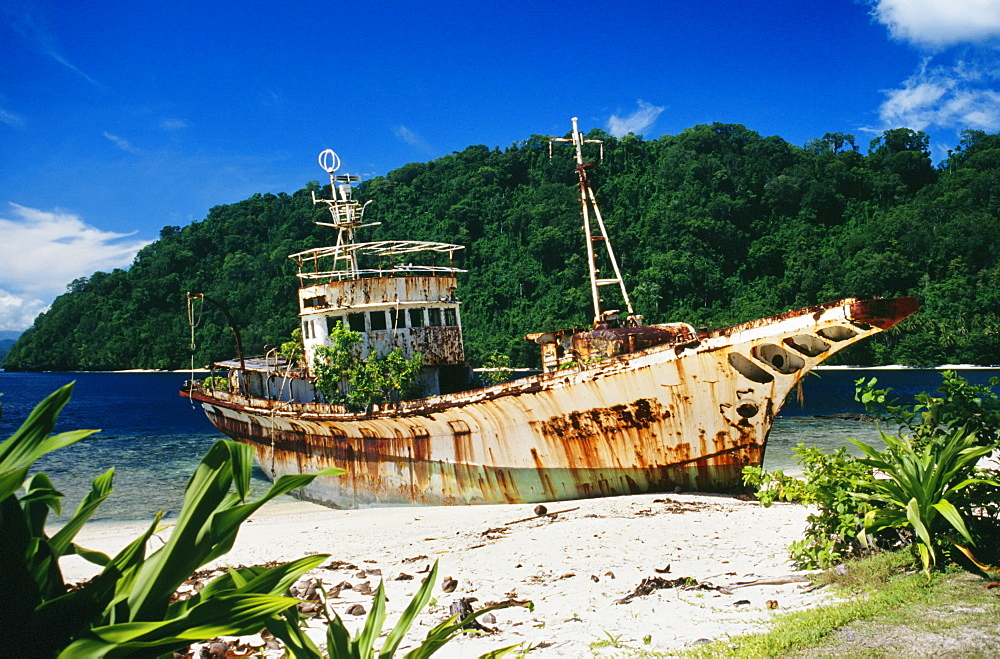 Papua New Guinea, Shipwrecked fishing boat on the beach.