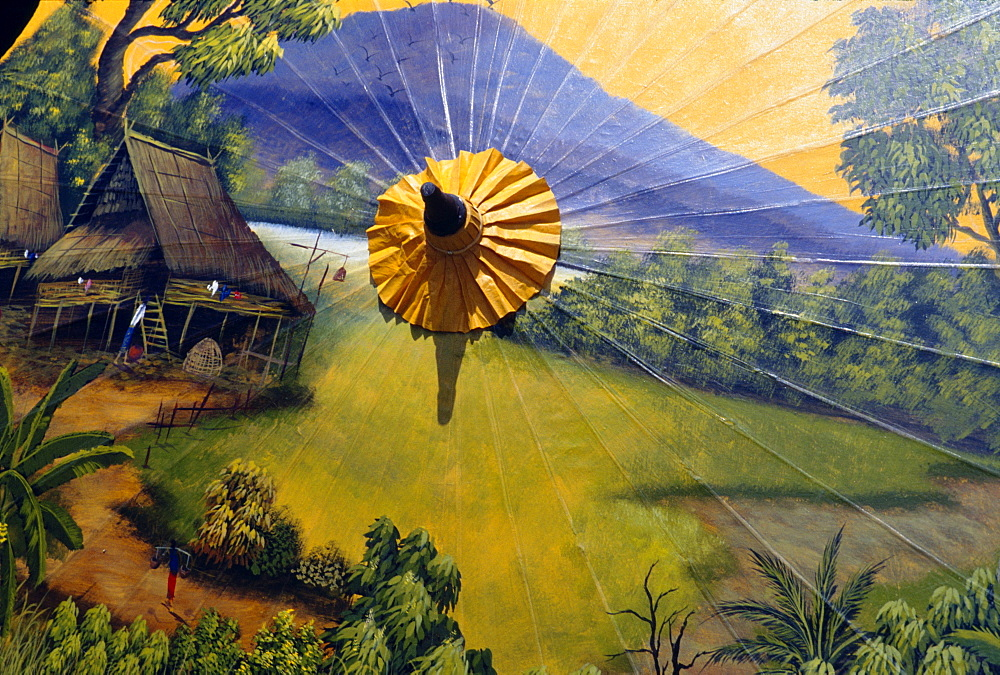 Thailand, Baw Sang, Detailed scene painted on umbrella - 1116-33995