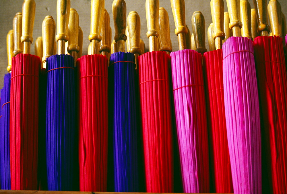 Thailand, Baw Sang, line of colorful closed umbrellas - 1116-33996