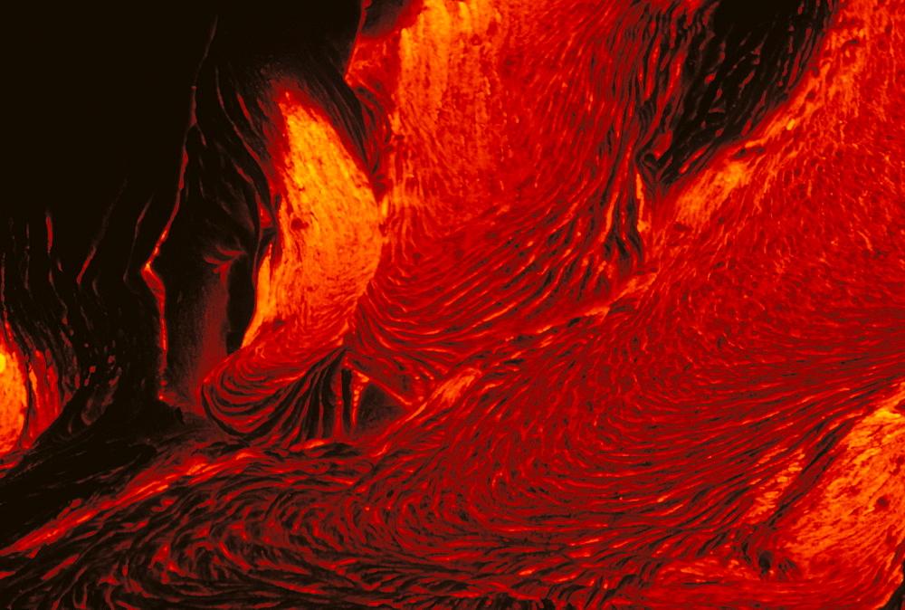 Hawaii, Big Island, Kilauea Volcano, glowing lava flow