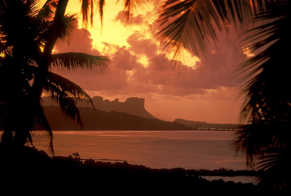 Micronesia, Caroline Islands, Pohnpei, Sokehs Rock Lagoon and palm trees. dramatic sunset