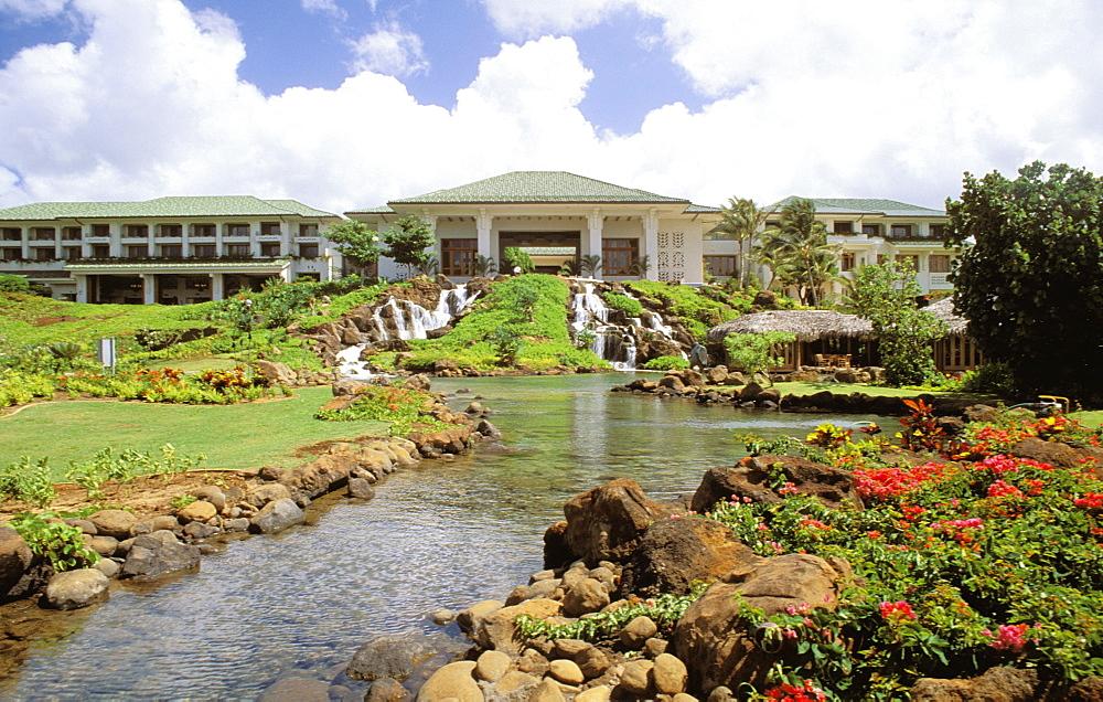 Hawaii, Kauai, Hyatt Regency Kauai Poipu Beach, landscape and gardens.