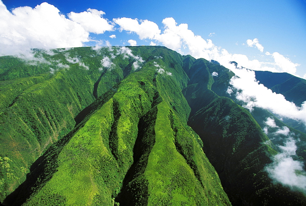 Hawaii, Maui, Crevices descending from Pu'u Kukui, Clouds in sky