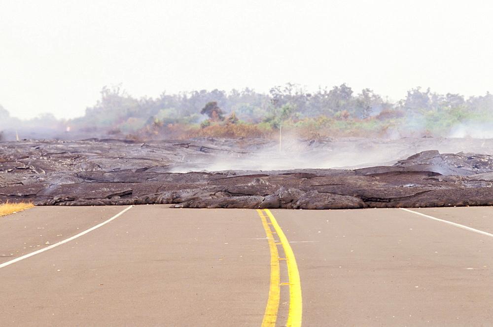 Hawaii, Big Island, Puna, Lava flow Across Highway 130