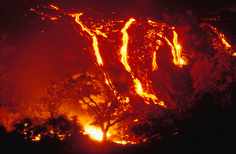 Hawaii, Big Island, Hawaii Volcanoes National Park, lava flows into forest burning trees