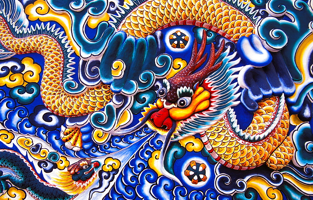 Thailand, Ayuthaya, Bang Pa-in Palace, Brightly painted Chinese style wood carvings. - 1116-35572