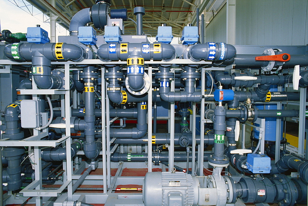 Hawaii, Oahu, Campbell Industrial Park, Desalinization Plant, pipes.