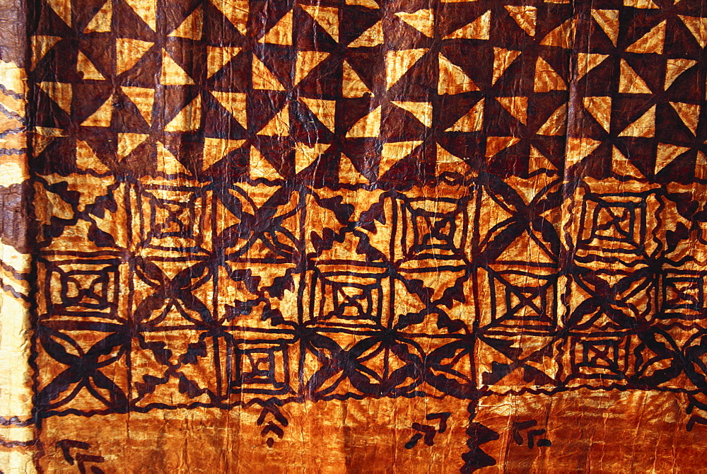 Traditional Polynesian tapa, hand printed paper bark cloth.