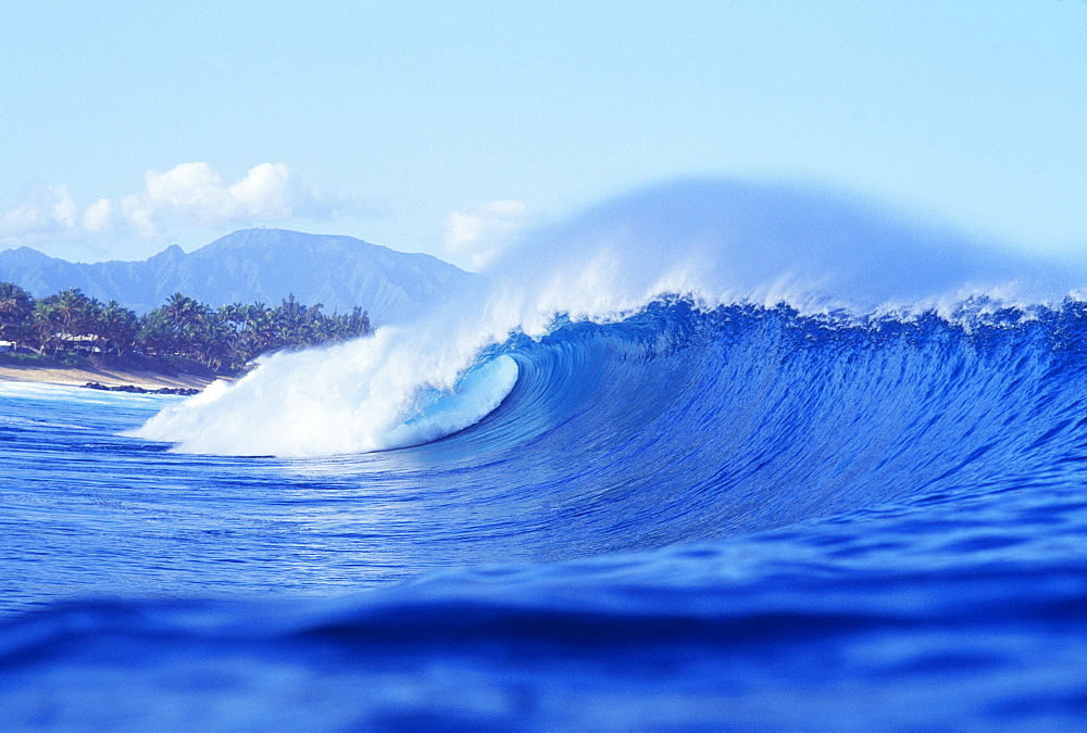 Hawaii, Large blue, curling wave, mountain and beach in the background.