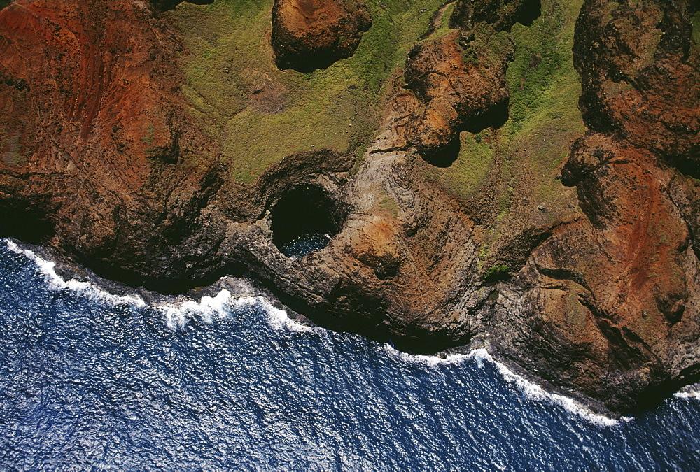 Hawaii, Kauai, NaPali Coast aerial along rugged cliffs