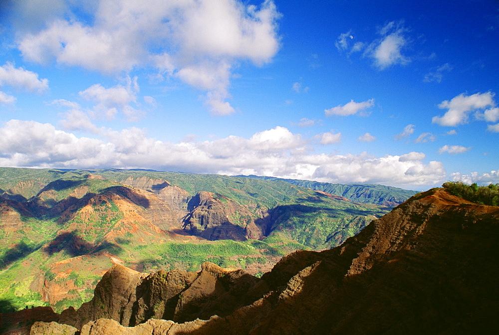 Hawaii, Kauai, Waimea Canyon, wide scenic view, blue sky