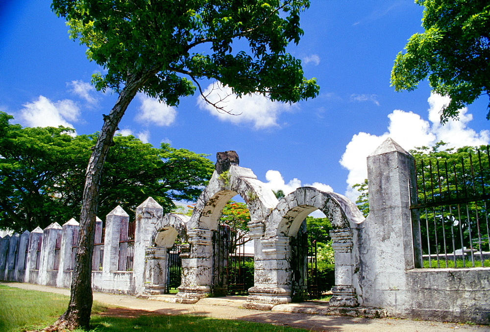 Micronesia, Guam, Agana, Plaza De Espana, view of gateway from exterior