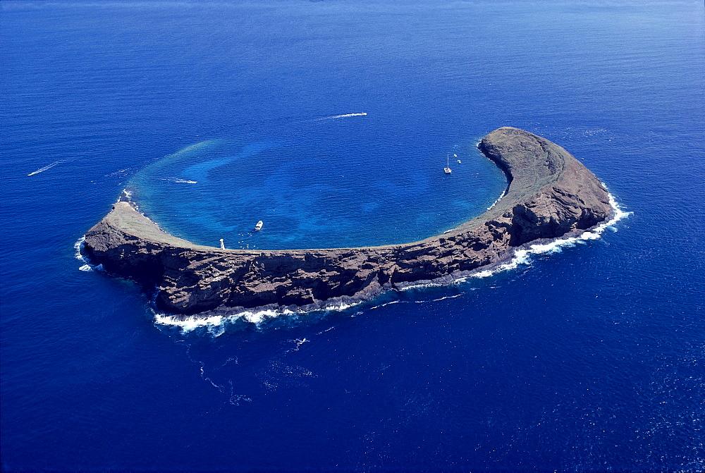 Hawaii, Maui, Molokini, crater aerial,