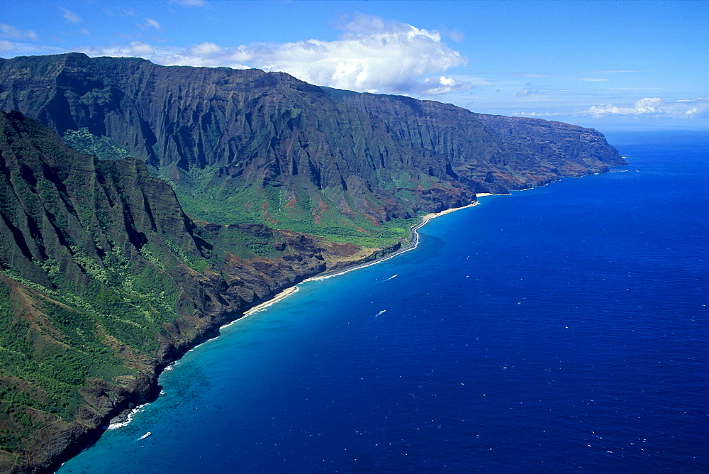 Hawaii, Kauai, Na Pali Coast aerial view