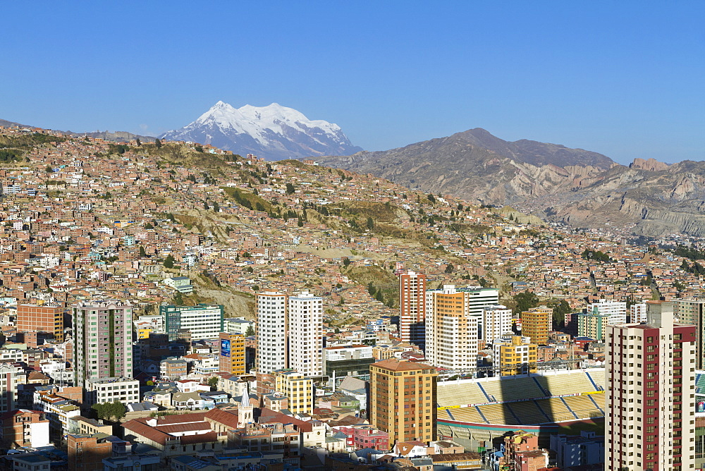Panoramic view of La Paz and Mount Illimani from Mirador de Killi Killi, La Paz, Bolivia